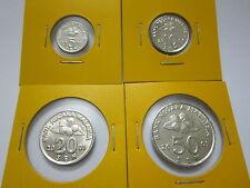 """MALAYSIA  5,10,20 & 50sen coin 2001 Bunga Raya series  """"BU"""""""