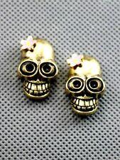 Goth punk biker style skull earrings with flower