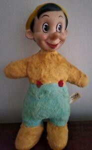 "Vintage Rare Pinocchio Plush Doll 10"" Vinyl Face Head Walt Disney"
