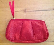 Red Metallic Sparkle Make Up Cosmetic Bag Pouch Clutch 8 X 4.5   NWOT