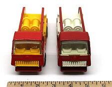 2 Vintage Mini Tonka Fire Engine Pumper Truck Pressed Steel White Yellow Plastic