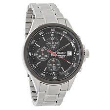 Seiko Mens Black Dial Stainless Steel Chronograph Quartz Watch SKS491