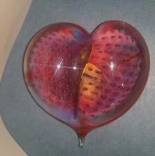 ROBERT BURCH  Studio Art Glass Signed Paperweight Heart , Beautiful !