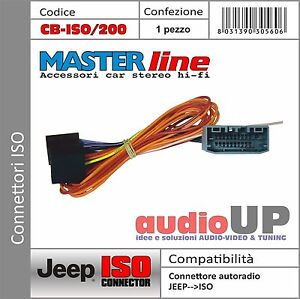 CONNETTORE AUTORADIO ISO ORIGINALE PER JEEP GRAND CHEROKEE DAL 2011 AL 2013.