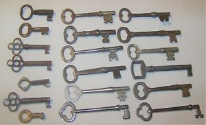 LOT 19 ANTIQUE SKELETON BARREL KEYS DOOR FURNITURE CABINET LOCK+