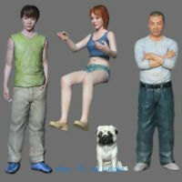 1/32 Scale 54mm Man And Girl Dog Resin Figure Unpainted Model Kits Garage Kit GK