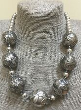 Vintage Chinese Sterling Silver Extra Large Dragon 25 MM Bead Necklace