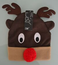D&Y Christmas Holiday Fashion Winter Knitted Beanie Hat, Reindeer One Size NWT