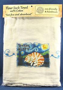 "Flour Sack hand made Cotton Towel ""Starry Kitty"""
