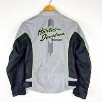 Harley Davidson Women's Mesh Motorcycle Riding Jacket Small Gray Black Green EUC
