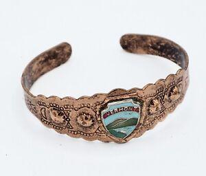 Vintage Souvenir Copper Cuff Bracelet Vermont VT State Collectible Engraved Vtg