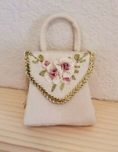 House of Louis Nichole Victorian Ornament - Ivory Handbag with Flower Detail