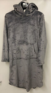 Cozy Plush Sleep Lounger 32 Degrees Heat hoodie-blanket Womens Small-Medium gray