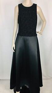 Vintage Patra Women's Black Metallic Glitter Bodice A-Line Formal Dress 14