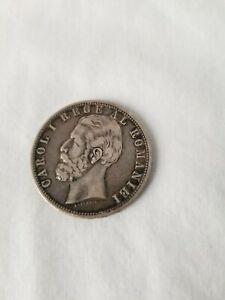 ROMANIAN 1881  5 LEI SILVER COIN CIRCULATED - NO RESERVE