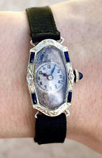 Vintage 14k Solid Gold Art Deco Sapphire And Diamond Ladies Rectangular Watch