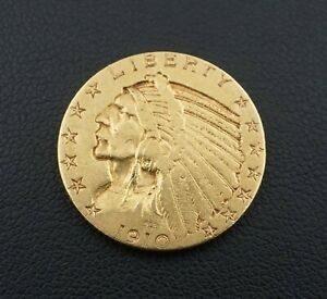 1910S $5 Dollar Indian Head Half Eagle Gold Coin Free Shipping Rare M1546