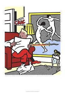 ROY LICHTENSTEIN Tintin Reading 39 x 27.5 Poster 1995 Pop Art Gray, White, Multi