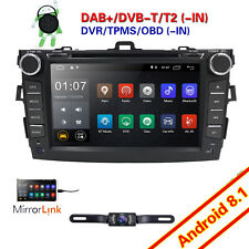 8'' Android 8.1 Car Stereo DVD Player Radio GPS For Toyota Corolla 2010 2011+Cam