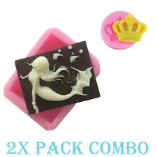 Mermaid & Crown Soap Silicone Sugar Craft Fondant Mold candy Ice cube Chocolate