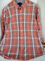 Tommy Hilfiger Mens Size XLTG Shirt Orange Black Plaid Long Sleeve Button Front
