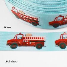 Ruban gros grain bleu clair Camion de pompier rouge de 22 mm vendu au mètre