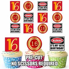PRECUT 16th Birthday Cake Decorations Edible Cup Cake Toppers For Boys or Girls