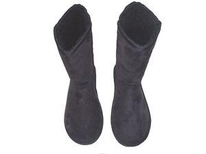 New Ladies Girls Australia Boots Black Faux Sheepskin Suede