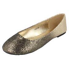 ladies black/gold flat shoes f80133