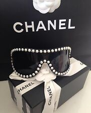 CHANEL BLACK PEARL RUNWAY SUNGLASSES GLASSES NEW IN BOX AND BAG SOLD OUT RARE