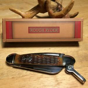 "Rough Ryder Amber Jigged Bone Locking Marlin Spike 4 1/2"" Pocket Knife RR535"