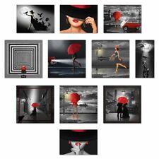 Artland Leinwandbilder Mausopardia Mond Frau Schwarz weiss Rot Regenschirme