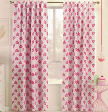 1 PAIR LOVELINE LOVE HEARTS BLOCKOUT CONCEALED TAB TOP CURTAINS 120CM X 221CM