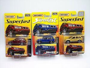 """3X """"MATCHBOX"""" SUPERFAST BMW X5 No.14 w/ **RARE GOLD** MIB"""
