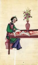 More details for antique 19th-century chinese pith painting, qing dynasty woman bootmaker