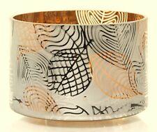 Linear Leaves Barrel Glass Jar Shade Yankee Candle NEW golden autumn metallic