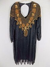 Vintage Beaded Evening Dress 1X Plus Black Gold Beaded Silk Cocktail 80's