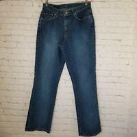 Blue Womens Jeans Size 12 Mom Bootcut High Rise Stretch Medium Wash
