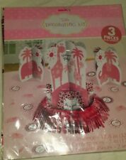 Welcome Baby Table Decorating Kit Its A Girl Giraffe Elephant Pink 3 Pc Set New