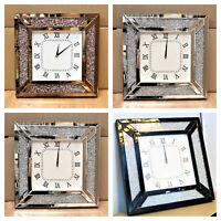 Venetian Jewel Frame Mirror Wall Clock 50cm square wall crushed diamante
