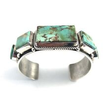 Native American Sterling Silver Navajo  Pilot MountainTurquoise Cuff Bracelet