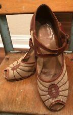 Vtg 30's 40's Vintage Sears Kerrbrooke Peep Toe Pin-up Shoes 5.5 C 1930s 1940s