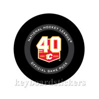2019-20 Calgary Flames 40th Anniversary Official NHL Hockey Game Puck w/Cube
