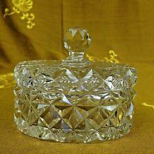 Edle Art Deco Glasdose Schmuckdose Kristallglas Klarglas mit Schliff Handarbeit