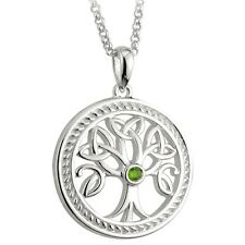Silver Stone set Celtic Tree of Life Pendant Necklace Celtic Jewellery Boxed