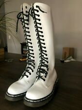 Dr. Martens 1860 White Leather 20 Eye Boots US 4 goth knee high Made in England