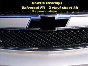 Bowtie Grille & Tailgate Black EMBLEM COVER WRAP SHEETS 99 - 16 Chevy Silverado