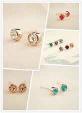 Stunning 18K Rose Gold GF 5MM SWAROVSKI Lab Diamond Stud Earrings Lovely Gift