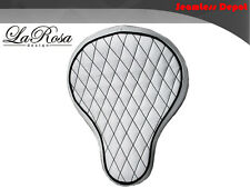 "La Rosa Harley Chopper Bobber Solo Seat - 16"" White Leather Diamond Tuk BaSICK"