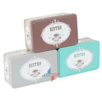 Bistro Tin Vintage Retro Style Tea Coffee Biscuit Storage Canister Tidy